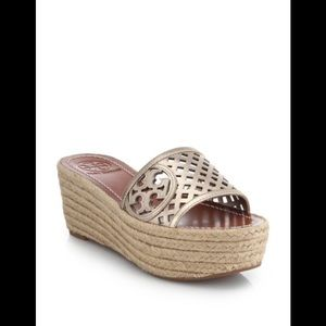 Tory Burch Metallic Leather Espadrille Wedge Slide